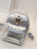 Casual Backpack Women PU Gold Silver Black