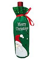 2pcs decoraciones Santa Claus muñeco de nieve bolsa de vino tinto cubierta de la botella de vino de Navidad (estilo al azar)