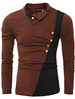 Men's Casual/Daily Simple Fall / Winter T-shirt,Color Block Turtleneck Long Sleeve Brown / Gray Cotton Thin