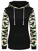 Women's Casual/Daily Simple Hoodie Print Striped Patchwork Micro-elastic Polyester Long Sleeve Spring