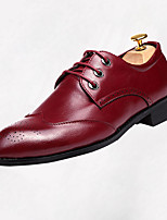 Men's Oxfords Fall Comfort Leather Casual Flat Heel Lace-up Black Gray Burgundy Walking