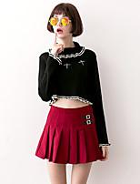 Linjou Women's Casual/Daily Simple Short CardiganPatchwork Black Turtleneck Long Sleeve Acrylic Fall Medium Inelastic