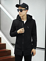 Men's Casual/Daily Simple Jackets,Solid Stand Long Sleeve Fall Black Acrylic Medium