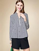 Tee-shirt Femme,Rayé Décontracté / Quotidien simple Automne Manches Longues Col en V Noir Coton Moyen