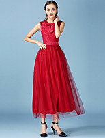 1287 Women's Going out / Casual/Daily Simple A Line / Lace Dress Round Neck Maxi Sleeveless Red Polyester / Others All