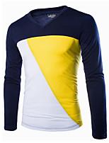 Herren Patchwork Einfach Lässig/Alltäglich T-shirt,Rundhalsausschnitt Frühling / Herbst Langarm Blau Baumwolle Mittel