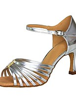 Customizable Women's Dance Shoes Leatherette Latin / Salsa Sandals / Heels Customized Heel Indoor / Performance Silver