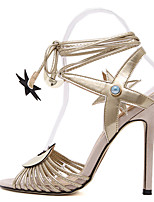 Women's Sandals Spring Summer Fall Comfort Leather Dress Party & Evening Stiletto Heel Lace-up Flower Silver Gold Walking Others