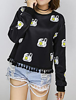 Women's Casual/Daily Simple / Active Short Hoodies,Print Black Round Neck Long Sleeve Cotton Fall / Winter Medium Stretchy