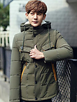 Men's Regular Down Coat,Simple Casual/Daily Solid-Polyester White Duck Down Long Sleeve Hooded Blue / Beige / Green / Orange