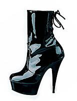 Feminino-Botas-Plataforma Botas da Moda Sapatos clube Light Up Shoes-Salto Agulha Plataforma-Preto-Materiais Customizados-Casamento
