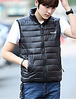Men's Padded Coat,Street chic Plus Size Solid-Polyester Polypropylene Sleeveless Stand Blue / Red / Black / Green