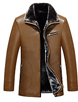 Men's Plus Size / Casual/Daily Simple Leather Jackets,Solid Long Sleeve Black / Green / Yellow Wool