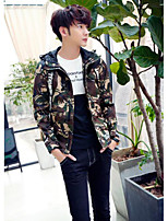 Men's Going out / Casual/Daily Simple Jackets,Camouflage Long Sleeve Fall / Winter Red / Gray / Green Polyester Medium