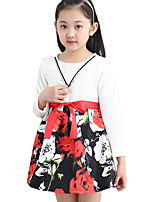 Girl's Going out Floral Dress,Cotton / Others Spring / Fall Black / White