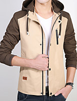 Men's Casual/Daily Simple JacketsColor Block Hooded Long Sleeve Fall / Winter Blue / Brown / Green Polyester Thick