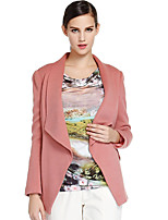 CANTO MOTTO Women's Casual/Daily Simple JacketsSolid Notch Lapel Long Sleeve Fall / Winter Pink Wool / Acrylic Medium