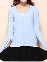 Normal Cardigan Femme Décontracté / Quotidien simple / Mignon,Couleur Pleine Bleu / Rose / Rouge / Vert / Jaune Col en V Manches Longues