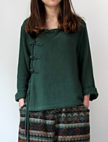 Cynthia Women's Casual/Daily Chinoiserie Spring / Fall ShirtSolid V Neck  Sleeve Green Cotton / Linen Medium