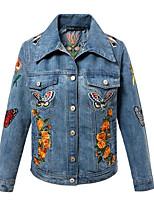 Женский На каждый день Цветочный принт / Вышивка Куртка Рубашечный воротник,Простое Осень Синий Длинный рукав,Полиэстер,Средняя