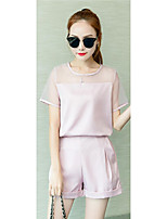 Women's Casual/Daily Simple Summer Pant Suits,Solid Round Neck Short Sleeve Blue / Pink / Black Others Thin