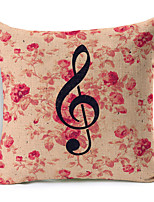 Polyester Decorative Cushion Pillow Cover Print Flower Note Sofa Home Decor 45x45cm