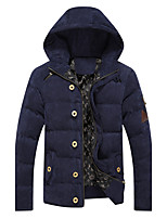 Men's Regular Padded CoatChinoiserie Casual/Daily Solid-Polyester Polypropylene Long Sleeve Hooded Blue / Brown / Green