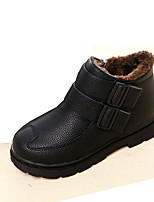 Boy's Boots Winter Comfort PU Outdoor / Casual Flat Heel Split Joint Black / Yellow / Red / Burgundy Walking