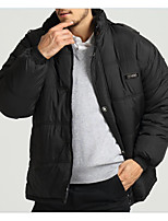 Men's Padded Coat,Simple Casual/Daily Solid-Cotton White Goose Down Long Sleeve Black