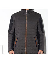 Men's Regular Padded Coat,Simple Casual/Daily Solid-Polyester Polyester Long Sleeve Stand Blue / Gray