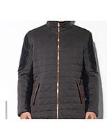 Manteau Rembourré Hommes,Normal simple Décontracté / Quotidien Couleur Pleine-Polyester Polyester Manches Longues Bleu / Gris Mao