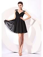 Short / Mini Chiffon / Sequined Bridesmaid Dress - Little Black Dress A-line V-neck with Sequins