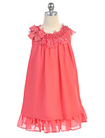 A-line Knee-length Flower Girl Dress - Chiffon Sleeveless Jewel with Bow(s) / Lace / Pearl Detailing