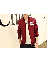 Men's Casual/Daily Simple Jackets,Solid Stand Long Sleeve Spring / Fall Blue / Red / Black / Gray Polyester