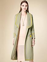 Женский На каждый день Однотонный Пальто Лацкан с тупым углом,Простое Зима Зеленый Длинный рукав,Хлопок