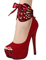 Damen-Sandalen-Kleid-PU-Keilabsatz-Komfort-Schwarz / Rot