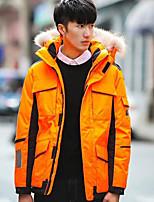 Men's Down Coat,Street chic Plus Size Solid-Polyester White Duck Down Long Sleeve Hooded Beige / Black / Orange
