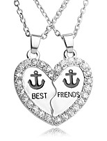 Necklace Best Friend Anchor Pendant Necklaces Jewelry Party / Daily Unique Design Heart 1 set