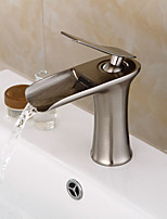 Modern Centerset Waterfall / Widespread / Pre Rinse with  Ceramic Valve Single Handle Two Holes for  Nickel