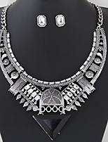 Women European Style Fashion Vintage Triangle Gem Metal Necklace Earring Set