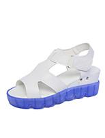 Women's Sandals Summer Comfort PU Casual Flat Heel Magic Tape Blue / Green Walking