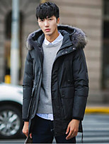 Men's Regular Down Coat,Simple Casual/Daily Solid-Polyester White Duck Down Long Sleeve Hooded Black / Gray / Green