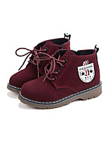 Girl's Boots Fall / Winter Snow Boots / Comfort PU Outdoor /  Flat Heel Lace-up Black / Burgundy / Khaki Walking