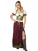 Cosplay Costumes Oktoberfest/Beer Halloween Red / White Print Cotton Top / Skirt / Headpiece / Belt