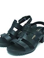 Damen-Sandalen-Lässig-PVC-Blockabsatz-Fersenriemen-Schwarz / Blau