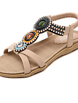 Women's Sandals Spring Summer Fall Mary Jane PU Dress Casual Flat Heel Rhinestone Imitation Pearl Buckle Black Almond Walking