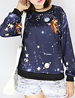 Women's Casual/Daily Simple / Active Regular Hoodies,Print Blue Round Neck Long Sleeve Cotton Fall / Winter Medium Stretchy