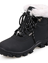 Women's Boots Fall / Winter Comfort Leather Athletic Flat Heel Lace-up Black / White