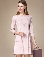Women's Casual/Daily Simple Sheath Dress,Solid Round Neck Above Knee ¾ Sleeve Pink Cotton Fall High Rise Inelastic Thin