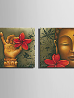 E-HOME Stretched Canvas Art Buddha And Flower Decoration Painting  Set of 2